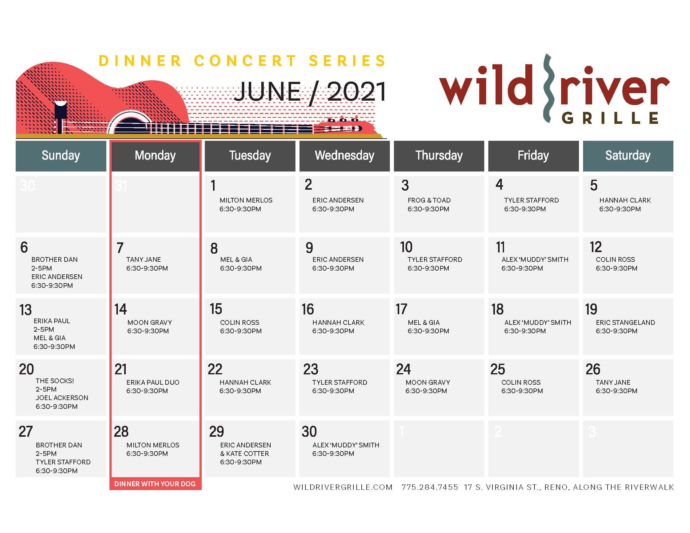 June Summer Dinner Concert Series Calendar