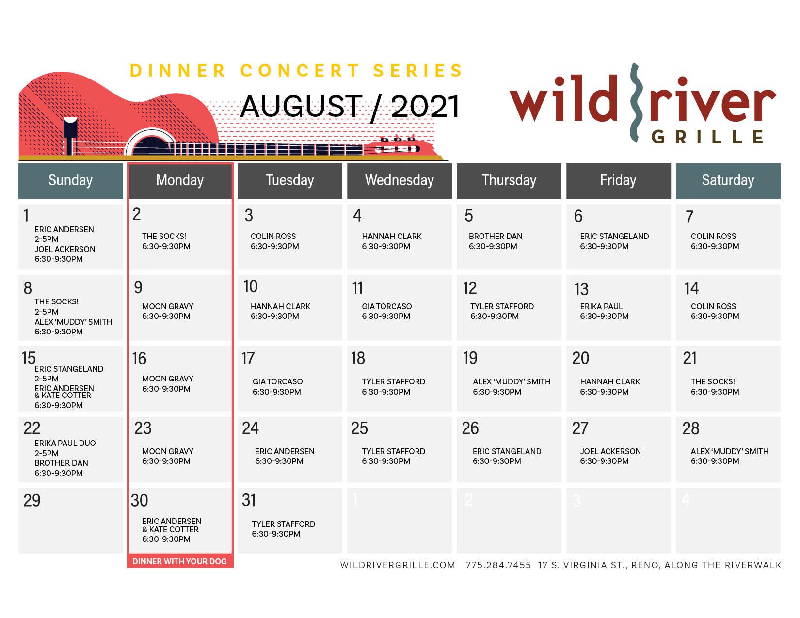 August Music Calendar